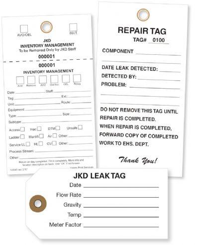 Leak Detection Custom Tyvek Tags no 8